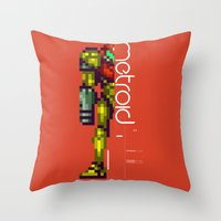 metroid Throw Pillows featuring Metroid by Slippytee Clothing