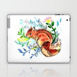 Cute Korea squirrel in sping flowers Laptop & iPad Skin