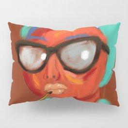 Lipstick Lady #OilPainting #ArtNouveauStyle Pillow Sham