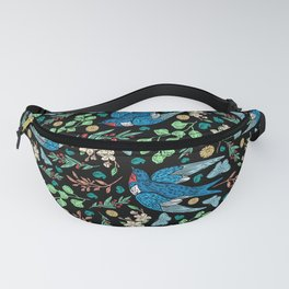 Blue Swifts and Butterflies In The Garden Fanny Pack