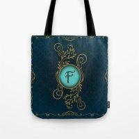monogram Tote Bags featuring Monogram F by Britta Glodde