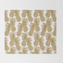 Gold Pineapples Throw Blanket