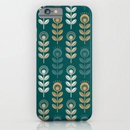 SCANDI GARDEN 01-11, golden colors on tidewater green iPhone Case