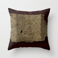 goonies Throw Pillows featuring Goonies Treasure Map by IndestrucTibBo