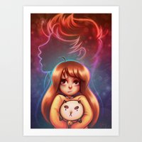 puppycat Art Prints featuring Bee and Puppycat by Dani Taillefer