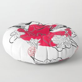 Cranes in love and Japanese peonies Floor Pillow