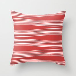 wavy stripes in cherry red Throw Pillow