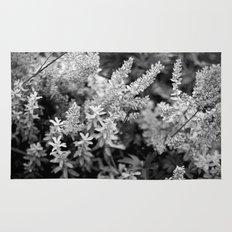 Leaves black n white Rug