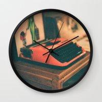 typewriter Wall Clocks featuring Typewriter by Cheryl Cha-Cyn