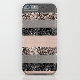 Blush Glitter Glam Stripes #3 #shiny #decor #art #society6 iPhone Case