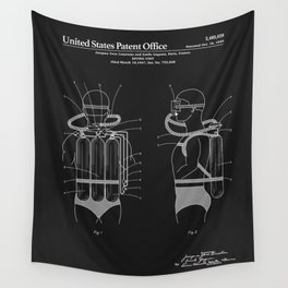 Jacques Cousteau Diving Gear Patent - Black Wall Tapestry