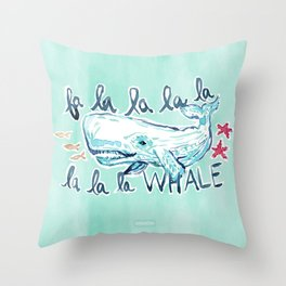 FA LA LA WHALE Coastal Holiday Print Throw Pillow