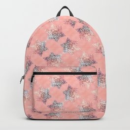 silver pink glittered shiny stars pattern Backpack