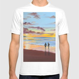 Romantic painting, couple at the beach T-shirt