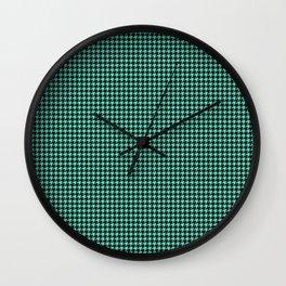 Tiffany Aqua Blue And Black Hounds-tooth Check Wall Clock