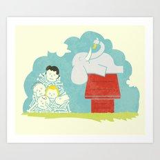Elephants Love Peanuts Art Print