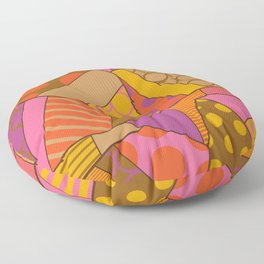Graphic Leaf Patchwork (Fall Bold Colors) Floor Pillow