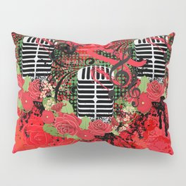 Retro microphone with roses Pillow Sham