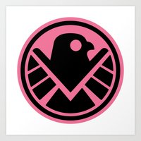 agents of shield Art Prints featuring Pink SHIELD by Arne AKA Ratscape