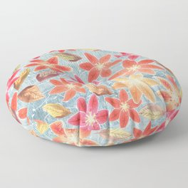 Cute Lilies and Leaves Floor Pillow