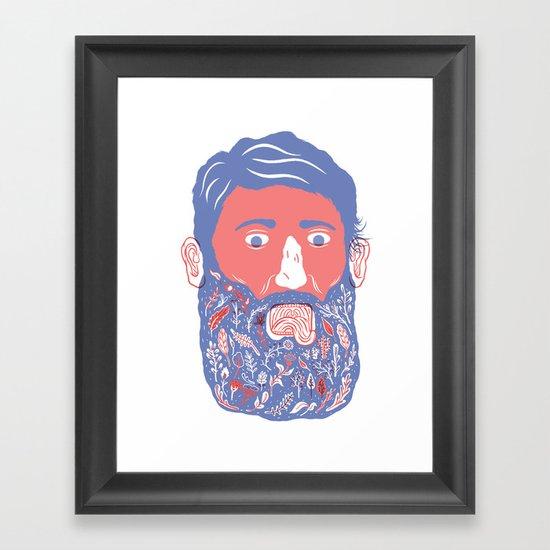 Flowers in Beard Framed Art Print