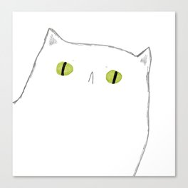 White Cat Face Canvas Print