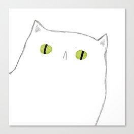 White Cat Face Canvas Print