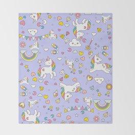 Unicorn Lilac Pattern Throw Blanket
