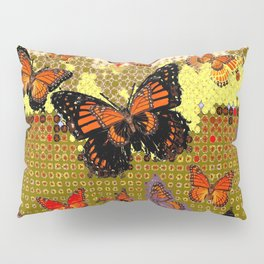 Puce color Abstracted Black & Orange Monarch Butterflies Pillow Sham