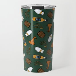 Whisky Pattern in Dark Green Travel Mug