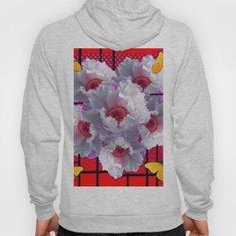 BUTTERFLIES MODERN WHITE TREE PEONY FLOWERS RED ART Hoody