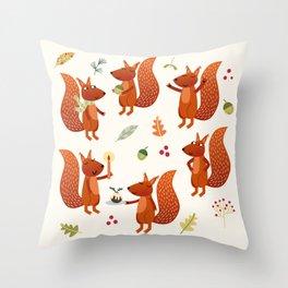 Festive Squirrels Throw Pillow