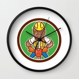 Gorilla Construction Jackhammer Circle Cartoon Wall Clock