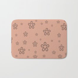 flowers on coral Bath Mat