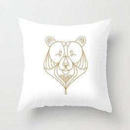 Gold Bear One Throw Pillow