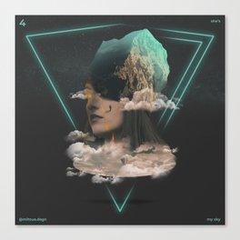 A adventurer climbing the magma crying sky-woman-mountain Canvas Print