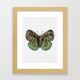 Green steampunk butterfly Framed Art Print