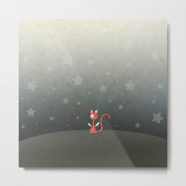 Small winged polka-dotted red cat and stars Metal Print