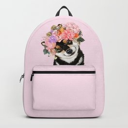 Black Shiba Inu with Flower Crown Pink Backpack
