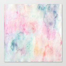 Chic Pink and Blue Watercolor Wash Canvas Print