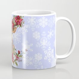Believe Typography Christmas Deer Head Poinsettia Coffee Mug