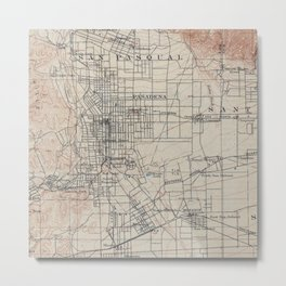 Vintage Map of Pasadena California (1894) Metal Print