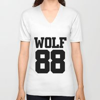 exo V-neck T-shirts featuring EXO WOLF 88 by Cathy Tan