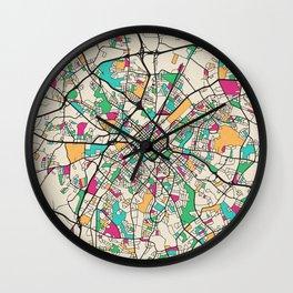 Colorful City Maps: Charlotte, North Carolina Wall Clock