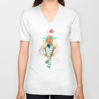 uk V-neck T-shirts featuring Autumn by Ariana Perez