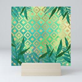 Pattern geometric gold and leaf Mini Art Print