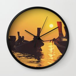 Longtail Thai boats @ sunset Wall Clock