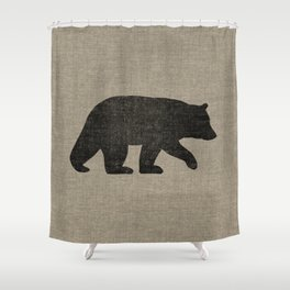 Black Bear Silhouette Shower Curtain