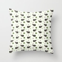 Hippos and Flowers Throw Pillow