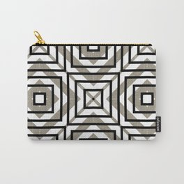 Gray, Gold, and White Geometric Abstract Carry-All Pouch